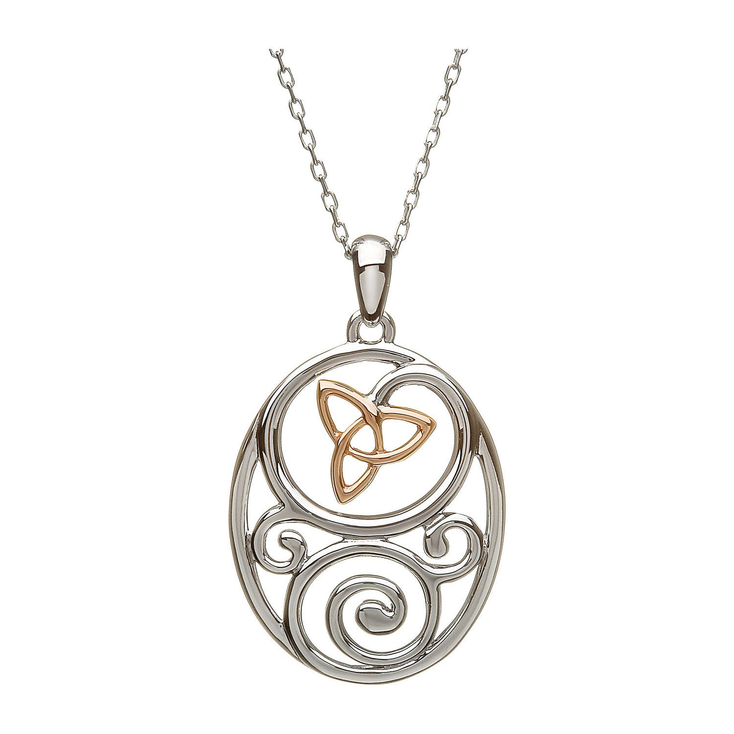 House of Lor Irish Gold Trinity Knot Silver Celtic Pendant