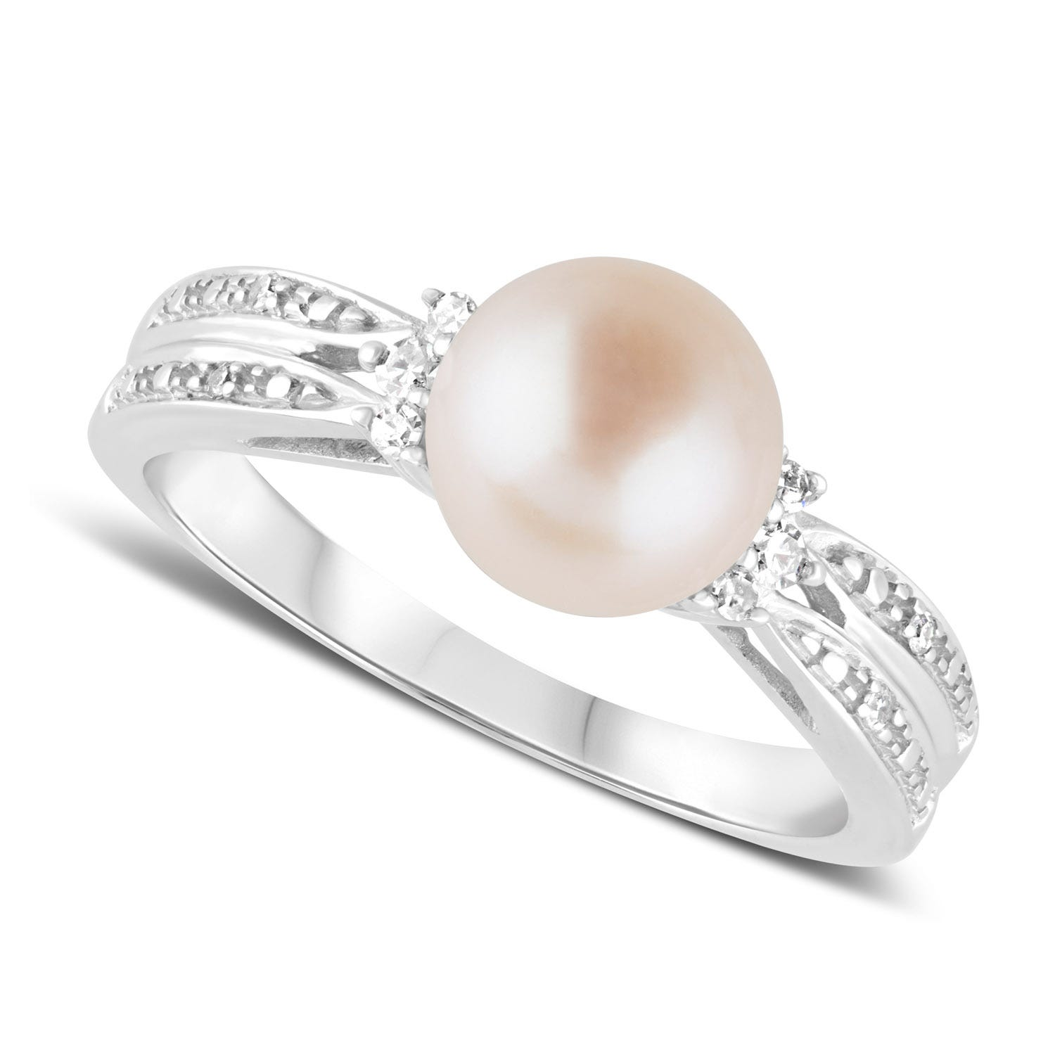 9ct White Gold Pearl & Diamond Ring