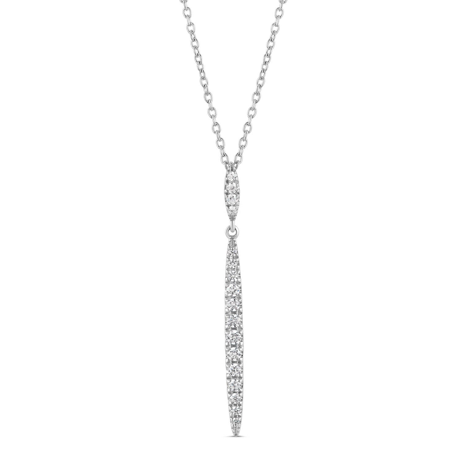 Sterling Silver Cubic Zirconia Claw Set Long Drop Pendant