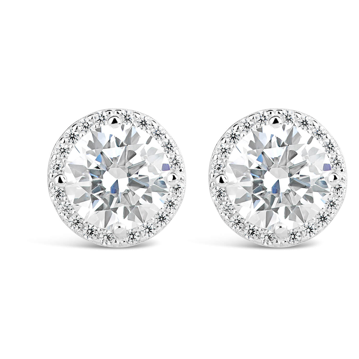 Sterling Silver Round Cubic Zirconia Halo Stud Earrings