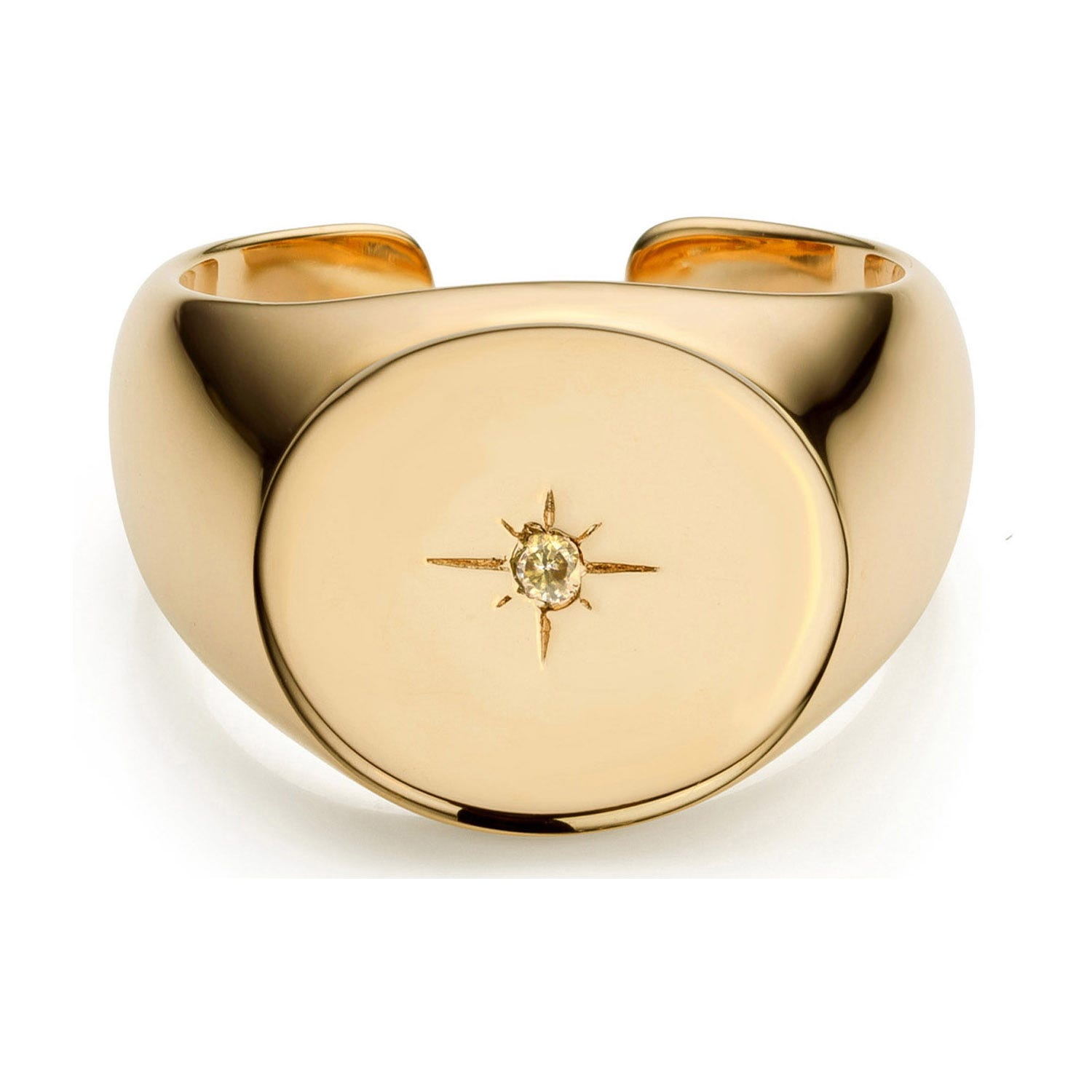 Mya Bay Yellow Gold-Plated Starry Signet Ring