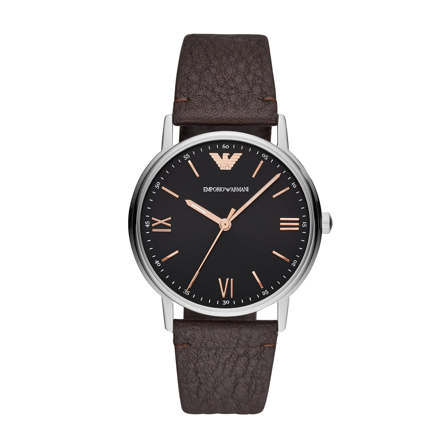 Emporio Armani Brown Leather 41mm Men's Watch