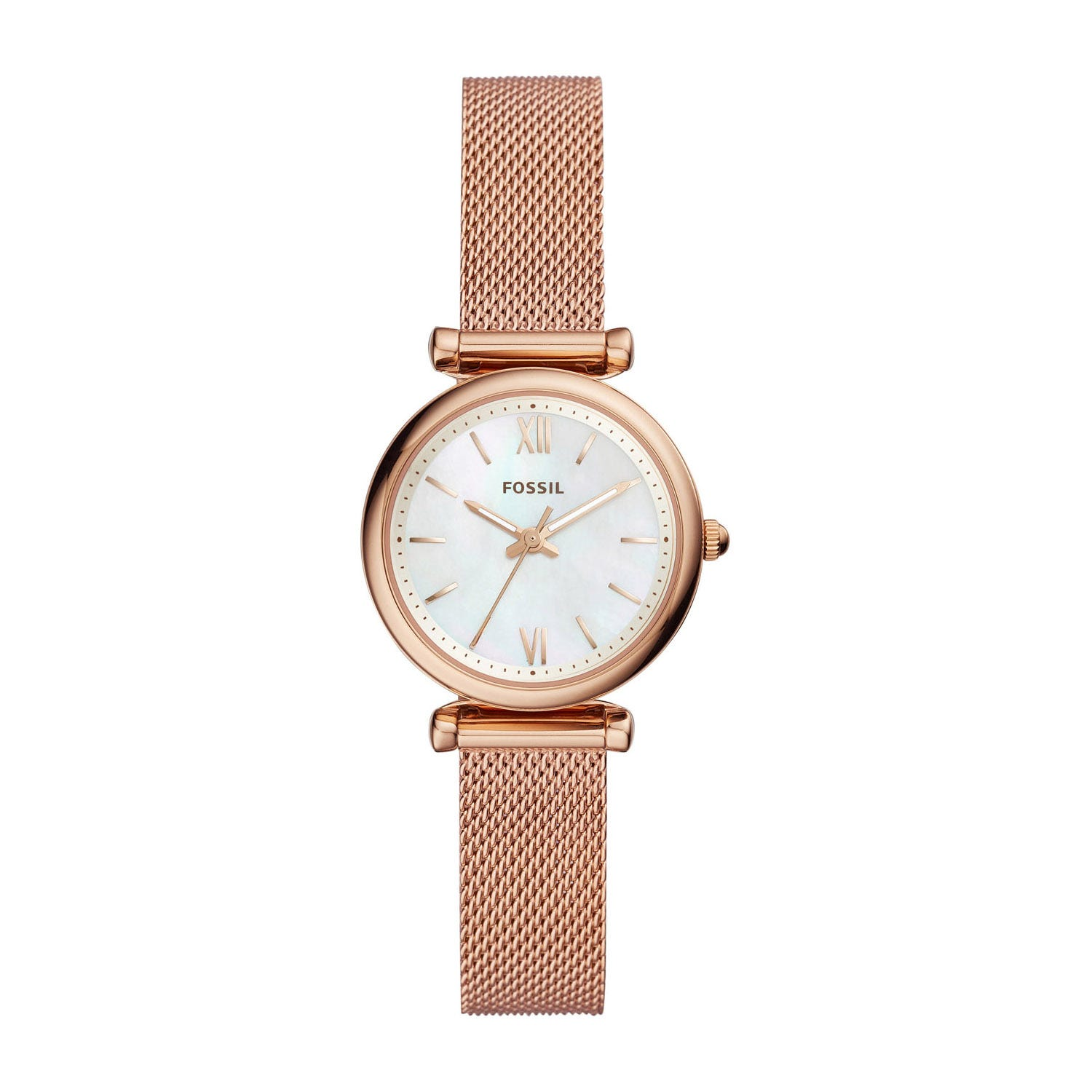 Fossil Mini Carlie Pearl & Rose Gold 28mm Ladies' Watch