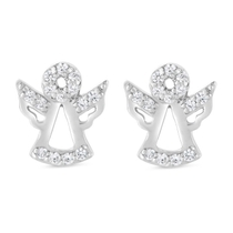Little Treasure Sterling Silver Cubic Zirconia Angel Stud Earrings
