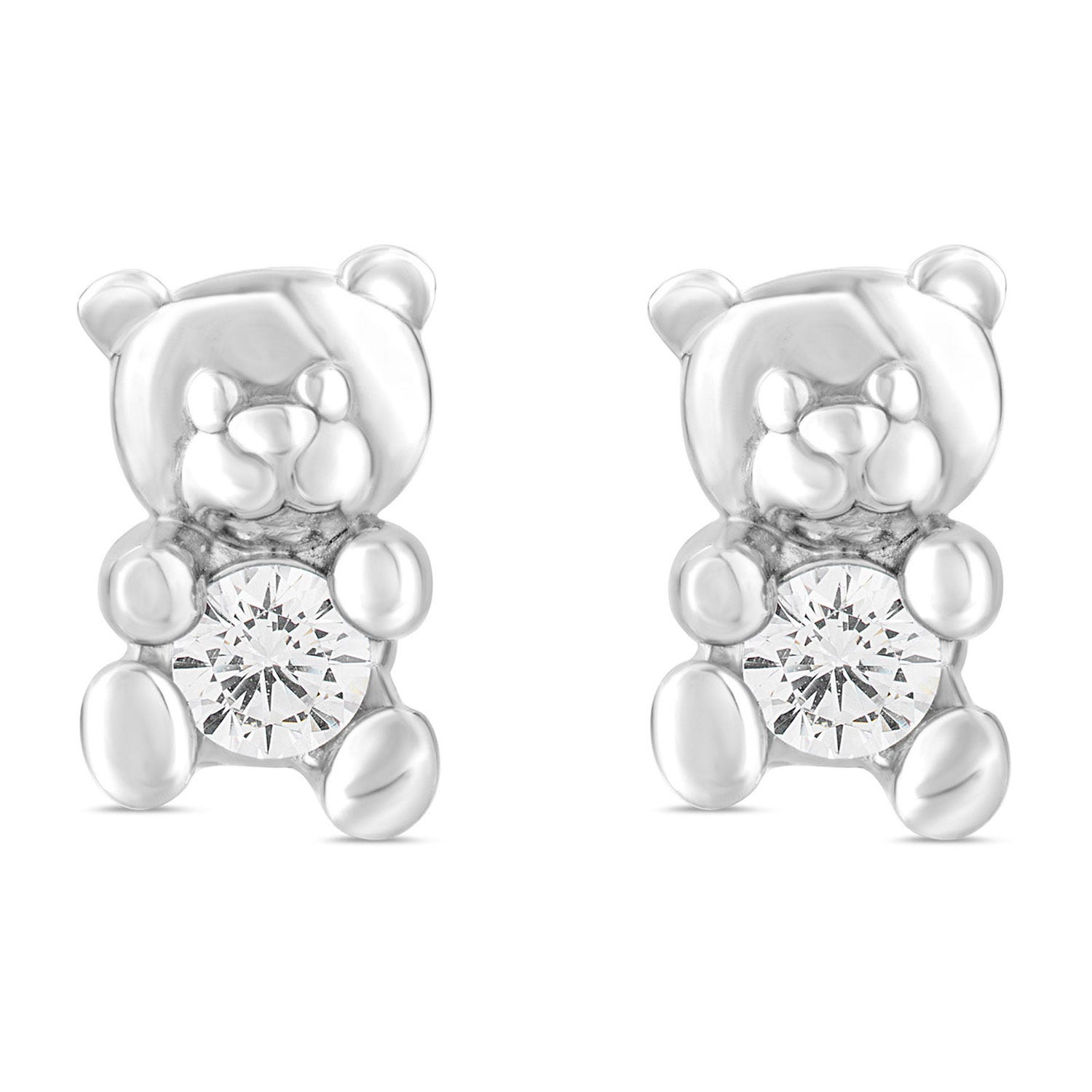 Little Treasure Sterling Silver Cubic Zirconia Teddy Bear Stud Earrings