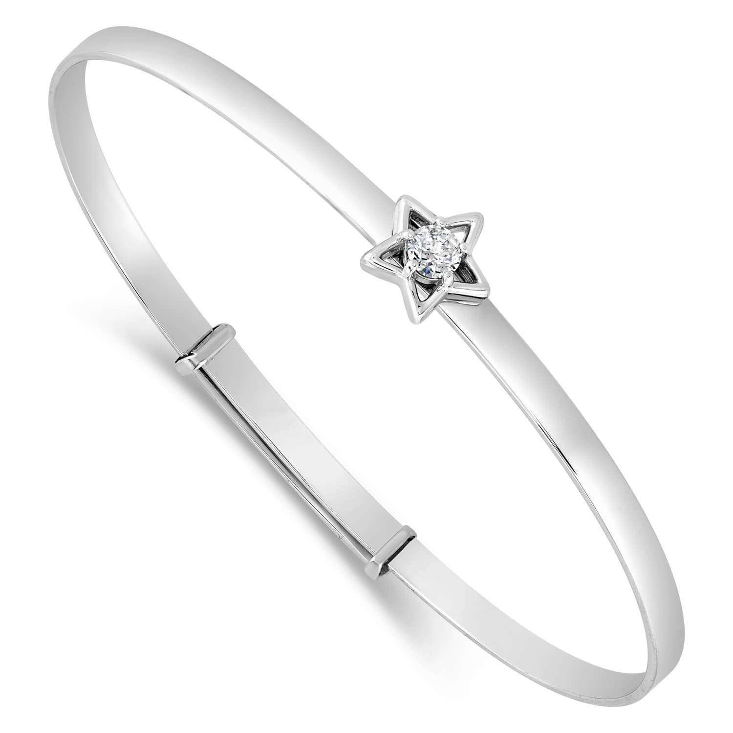 Little Treasure Sterling Silver Cubic Zirconia Open Star Bangle