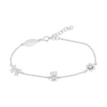 Little Treasure Sterling Silver Cubic Zirconia Children's Station Bracelet