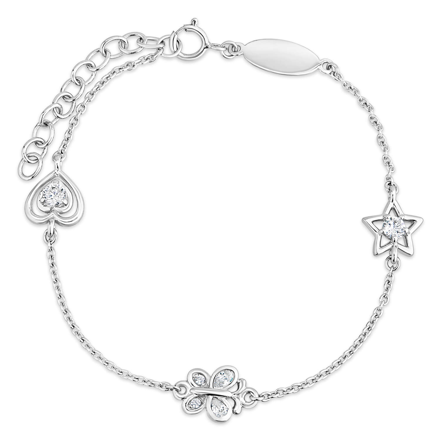 Little Treasure Sterling Silver Cubic Zirconia Children's Charm Bracelet