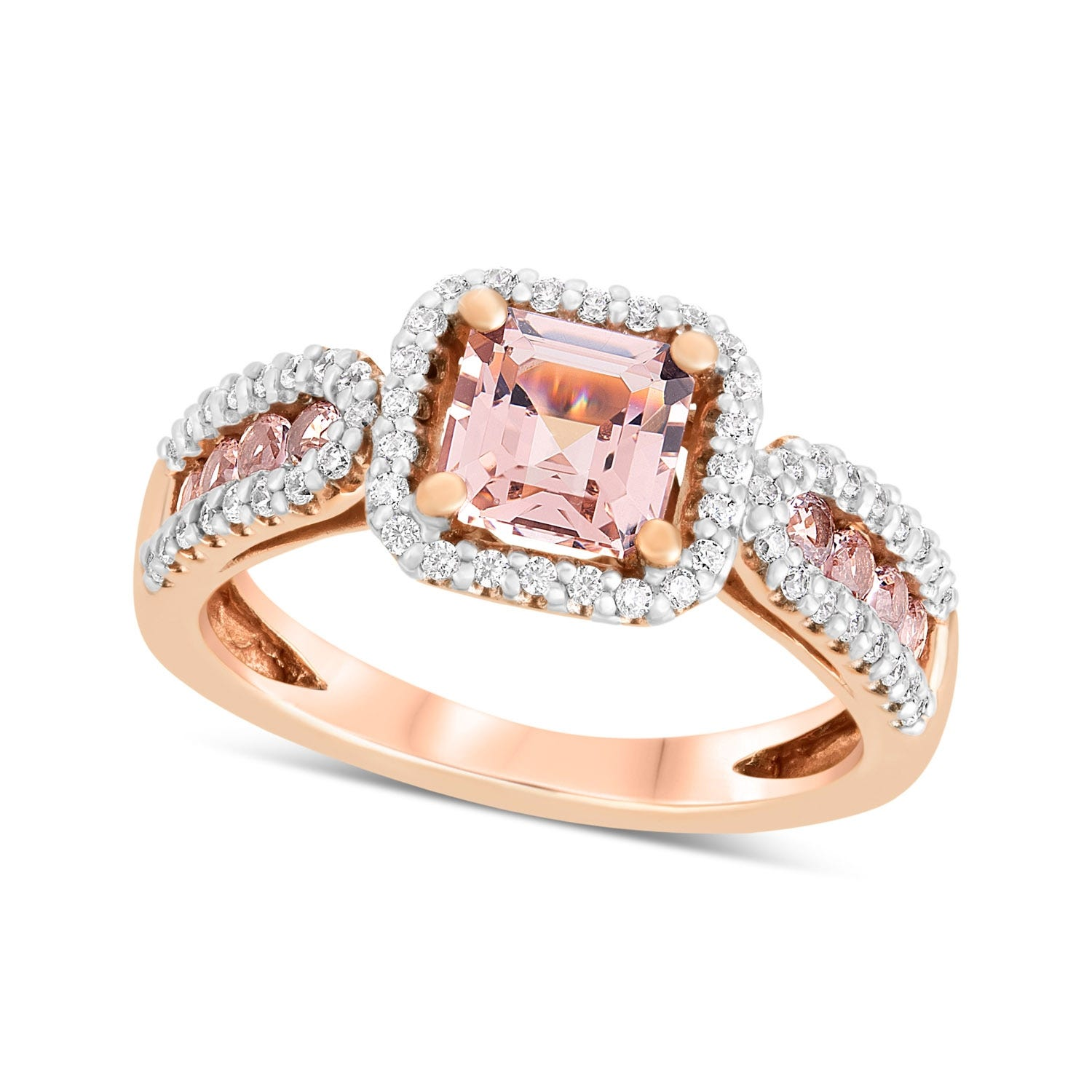 9ct Rose Gold Morganite & Cubic Zirconia Shoulders Ring
