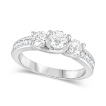 Special Price - 18ct White Gold 1.00ct Diamond Shoulders Trilogy Ring