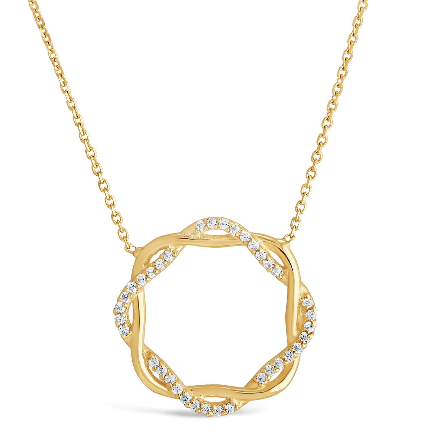 9ct Yellow Gold Plaited Plain and Cubic Zirconia Circle Chain Necklet