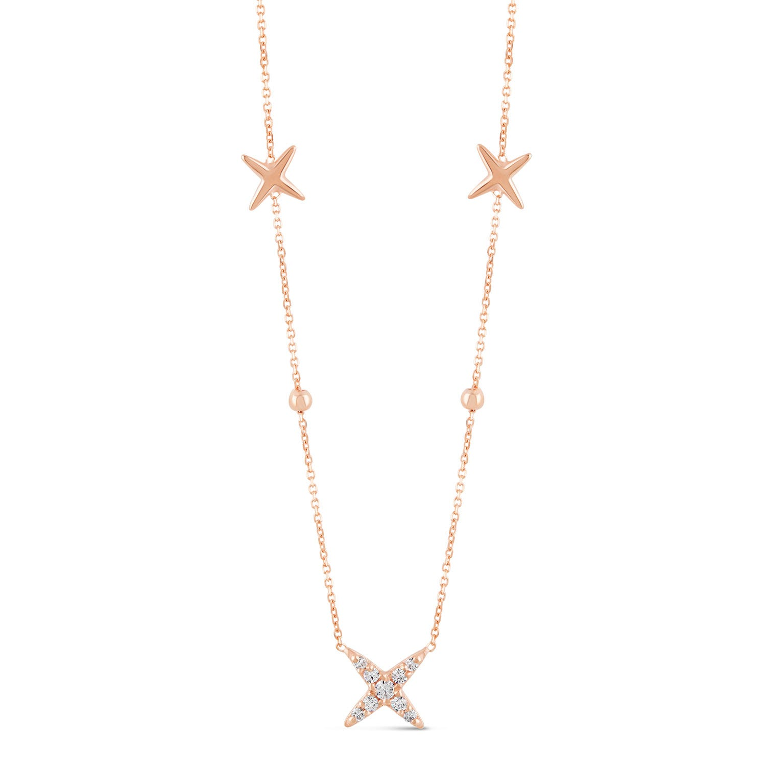 9ct Rose Gold Plain and Cubic Zirconia Cross Chain Necklet