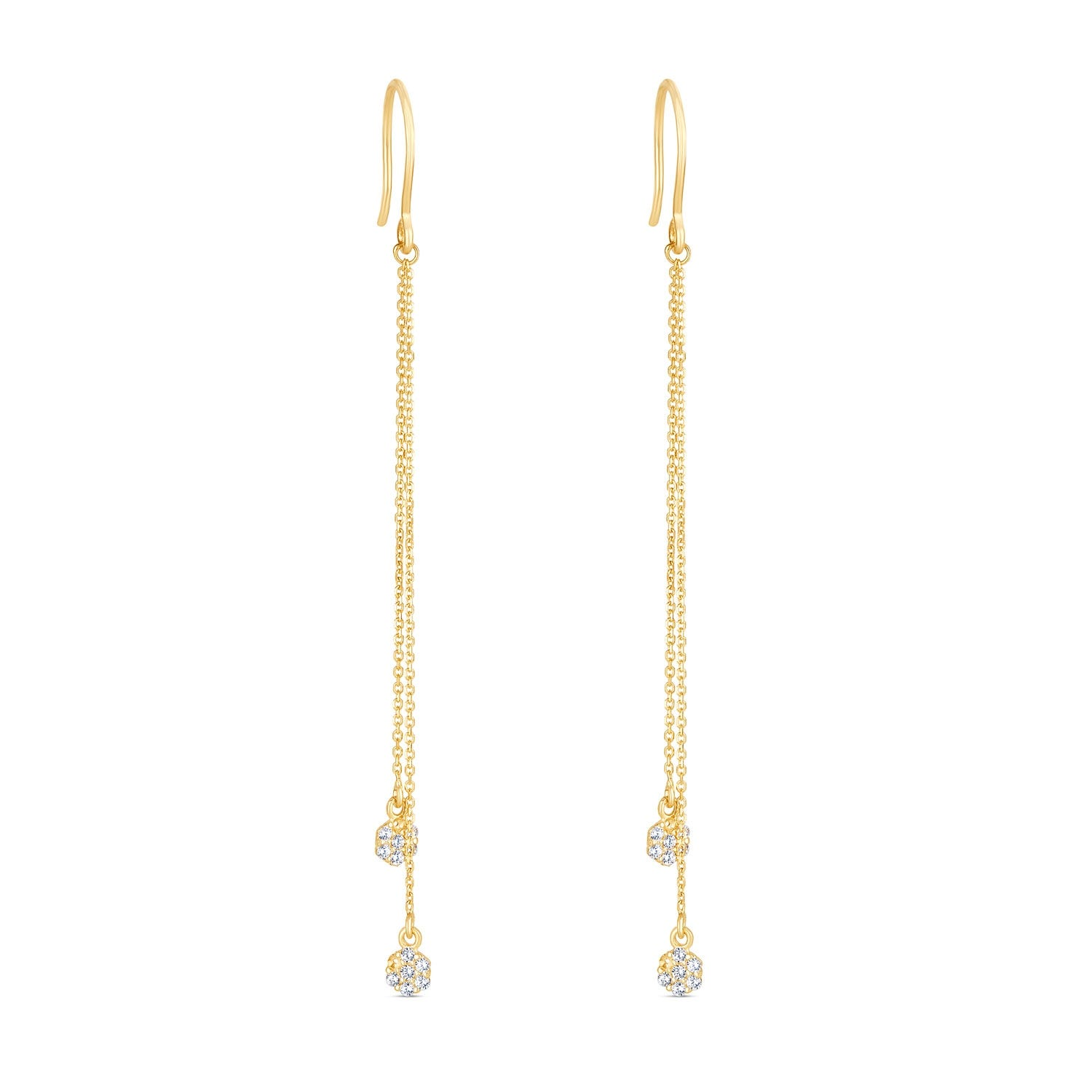 Special Price - 9ct Yellow Gold Cubic Zirconia Cluster Chain Earrings