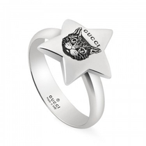 Gucci Sterling Silver Blind For Love Feline Star Ring