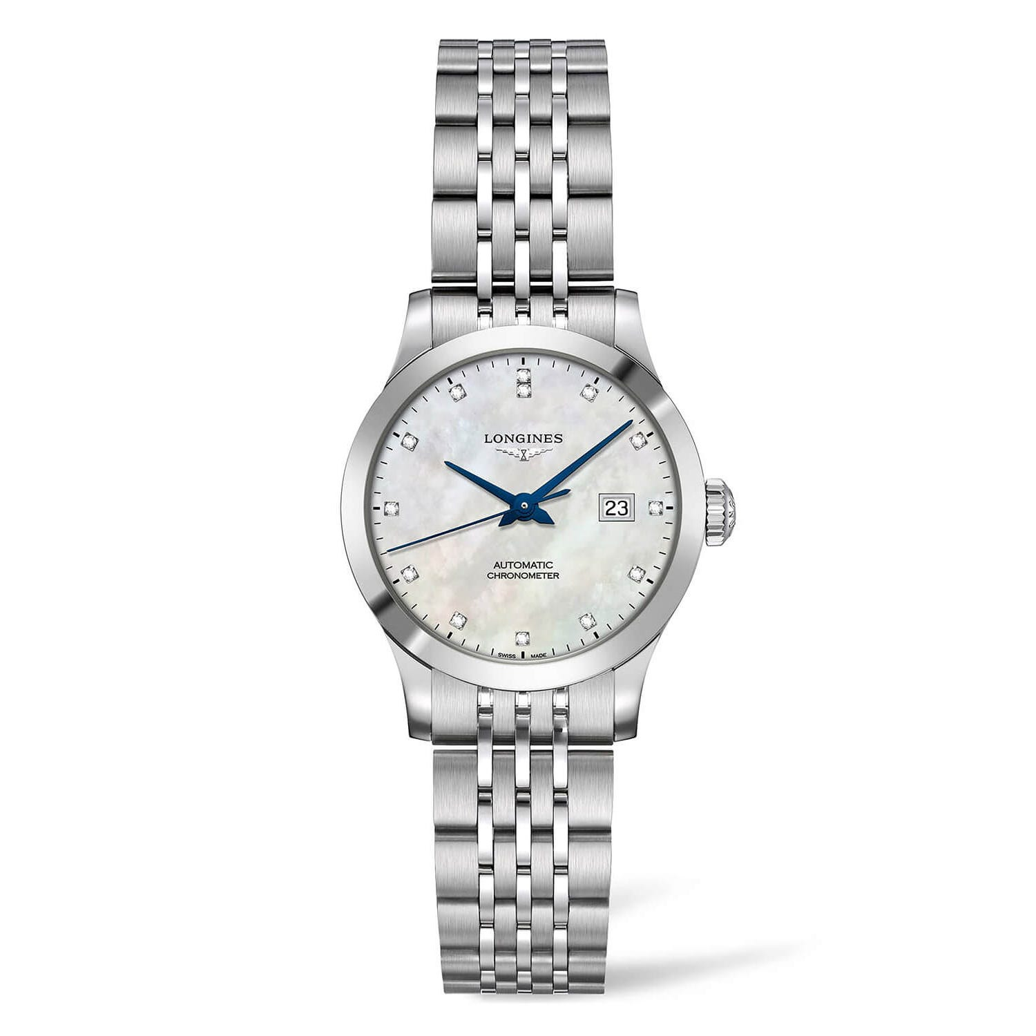 Longines Record Diamond and Pearl Dial Steel Bracelet Ladies' Watch