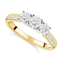 18ct Yellow Gold 0.75ct Trilogy Diamond Fields Setting Ring