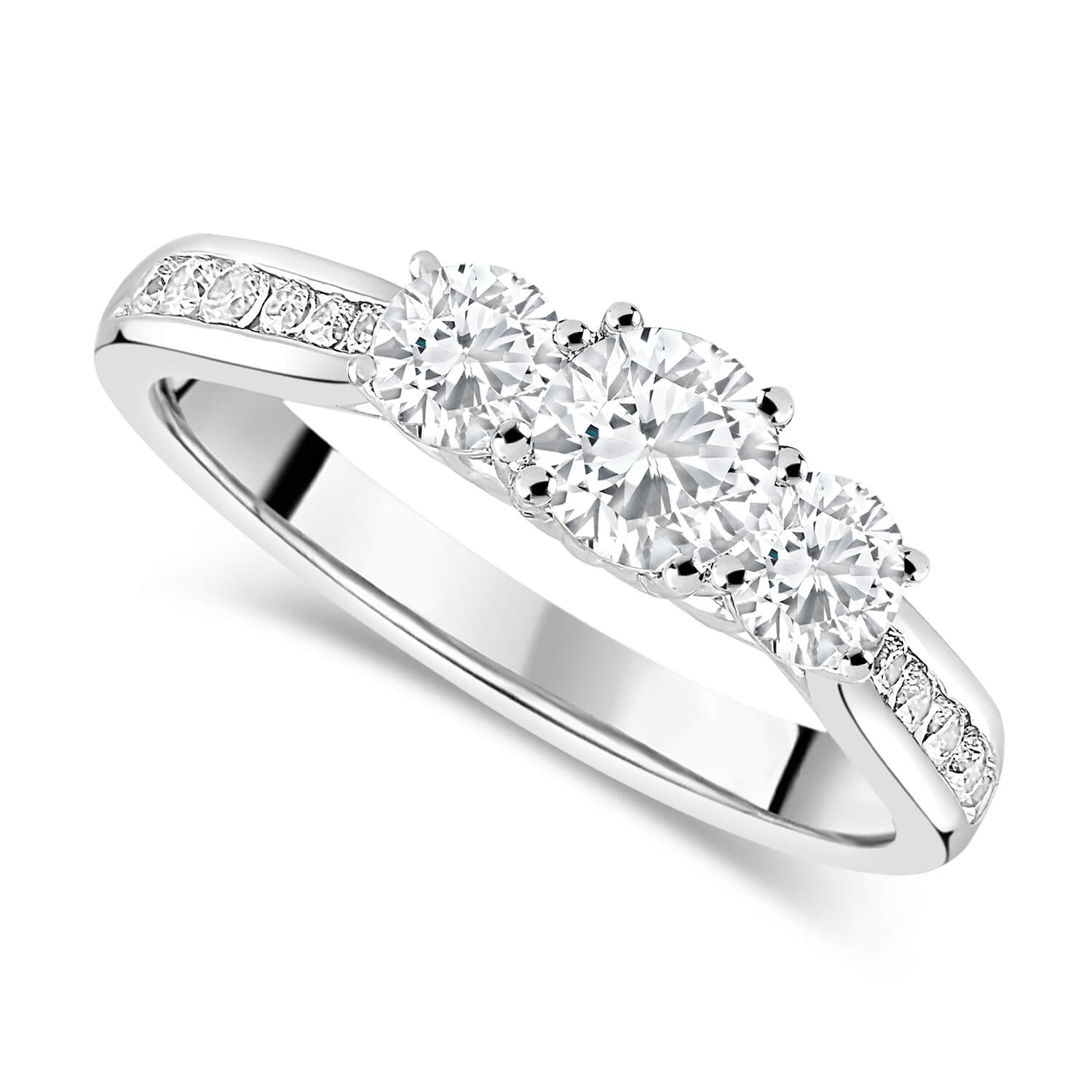 18ct White Gold 1.00ct Diamond Trilogy Fields Setting Ring