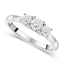 18ct White Gold 0.50ct Diamond Trilogy Fields Setting Ring