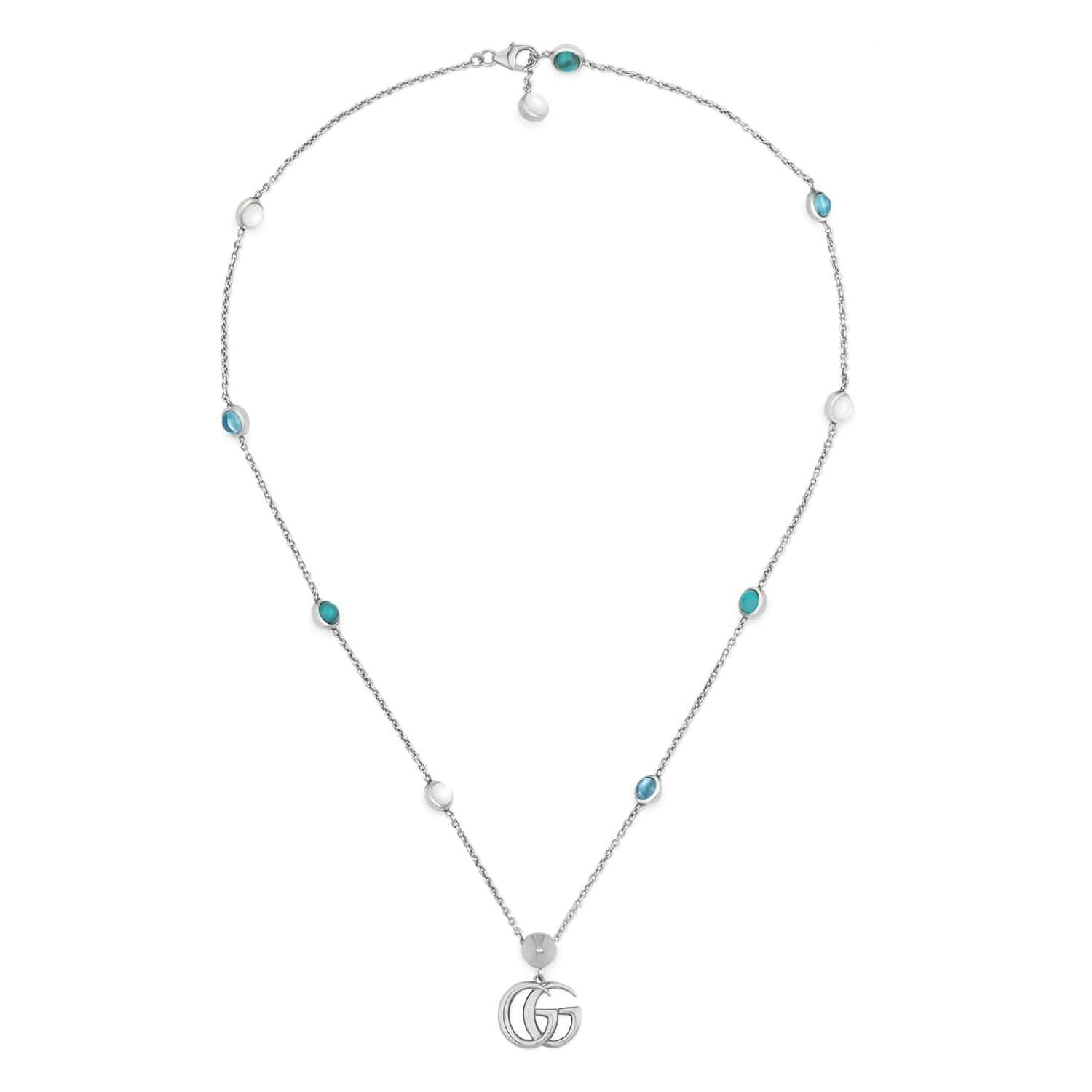 Gucci GG Marmont Sterling Silver Gemstone Station Pendant