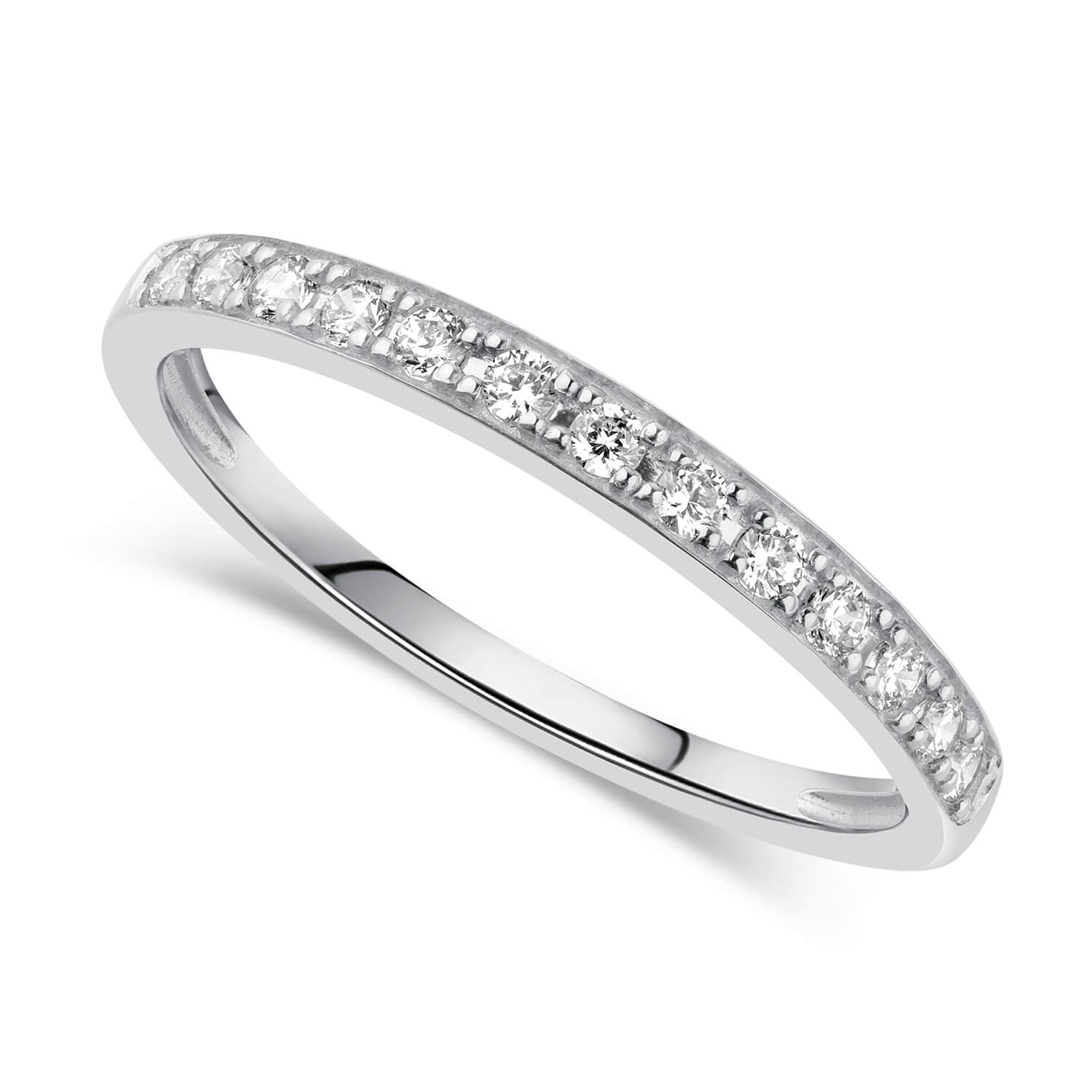 9ct White Gold Pavé Set Cubic Zirconia Eternity Ring