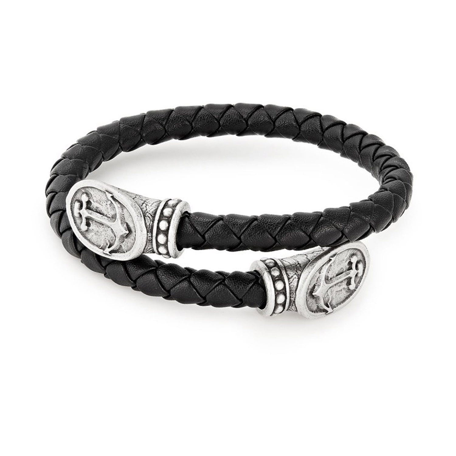 Alex And Ani Leather & Silver Anchor Men's Wrap Bracelet