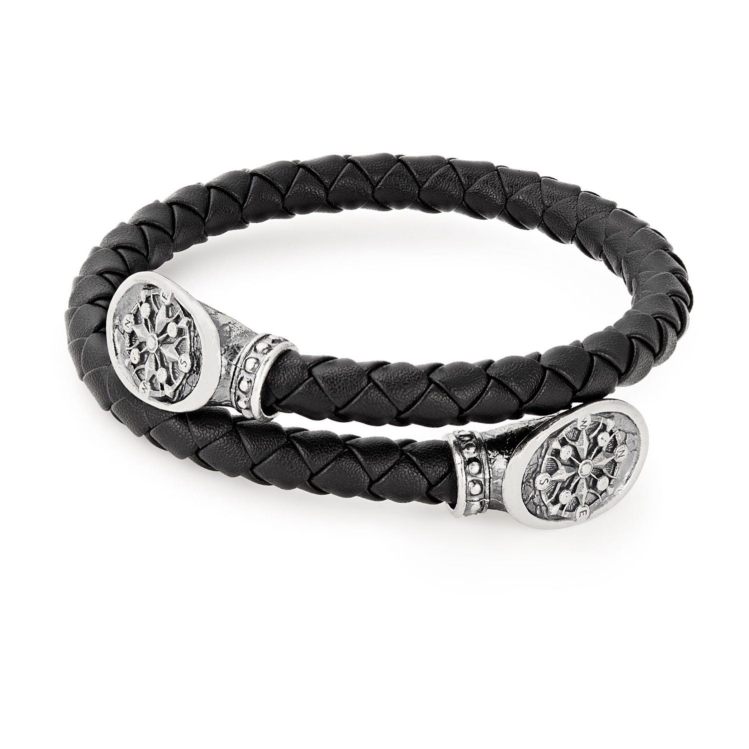 Alex And Ani Leather & Silver Compass Men's Wrap Bracelet