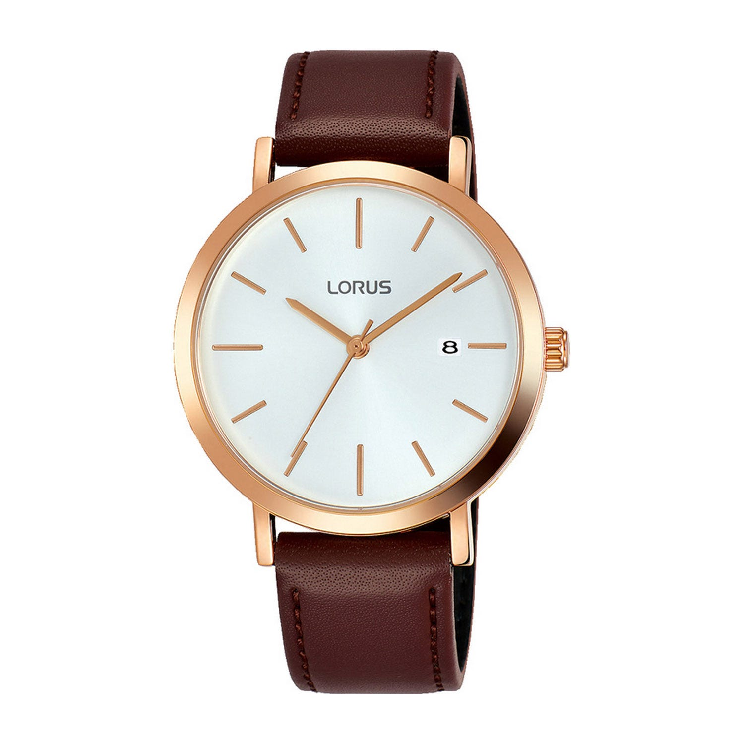 Lorus White Dial Brown Leather 38mm Men's Watch