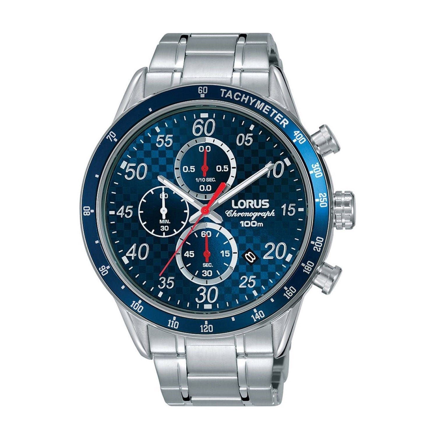 Lorus Chronograph Blue Dial Steel 44mm Men's Watch