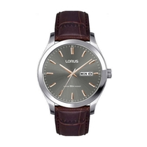 Lorus Grey Dial Brown Leather 40mm Men's Watch