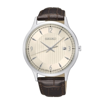 Seiko Cream Dial Brown Leather 40mm Men's Watch