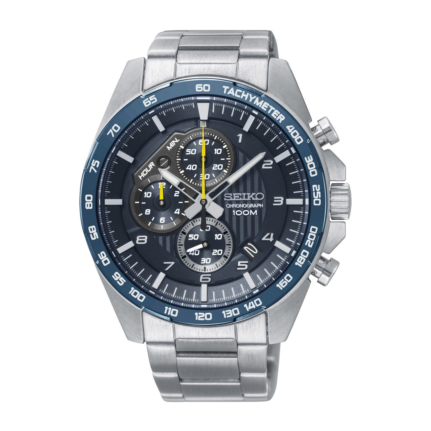 Seiko Chronograph Blue Dial Steel 42mm Men's Watch