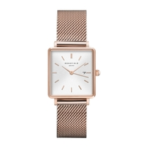 Rosefield The Boxy White Dial Mesh 28mm Ladies' Watch