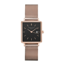 Rosefield The Boxy Black Dial Mesh 28mm Ladies' Watch