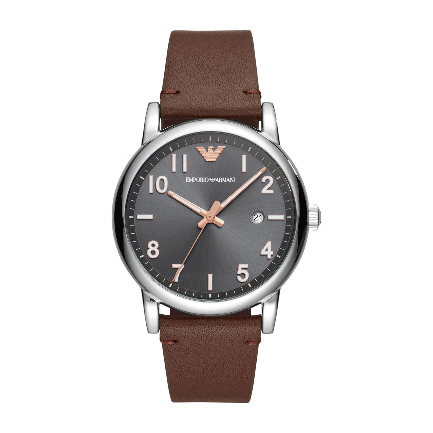 Emporio Armani Brown Leather 43mm Men's Watch