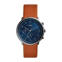 Fossil Chase Blue Dial Brown Leather 42mm Men's Watch