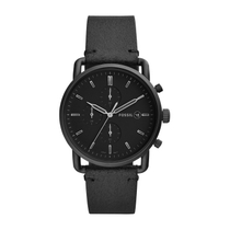Fossil Commuter Chronograph Black Leather 42mm Men's Watch