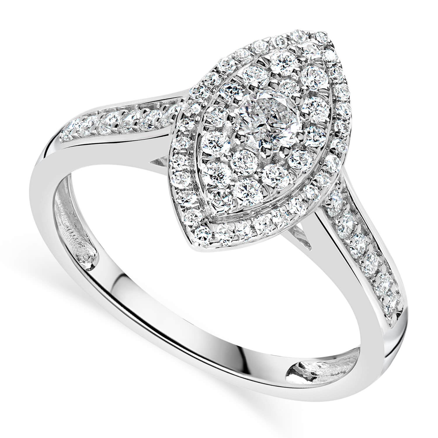 9ct White Gold 0.50ct Diamond Marquise Cluster Ring