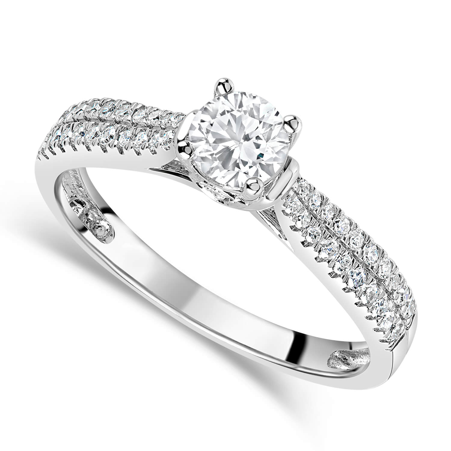 18ct White Gold 0.50ct Diamond Solitaire & Shoulders Ring