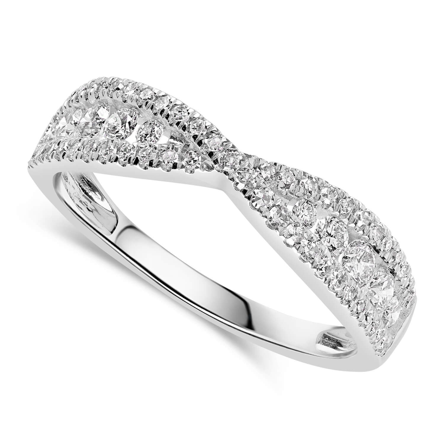 9ct White Gold 0.50ct Diamond Crossover Ring
