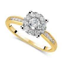 18ct Yellow Gold 0.65ct Diamond Cluster Ring