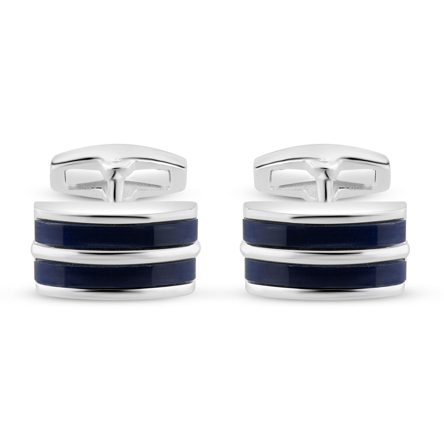 Silver Rectangular Navy Blue Stripe Cufflinks