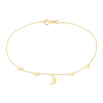 9ct Yellow Gold Moon & Stars Chain Bracelet