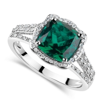 9ct White Gold 0.15ct Diamond and Created Emerald Cushion Halo Ring
