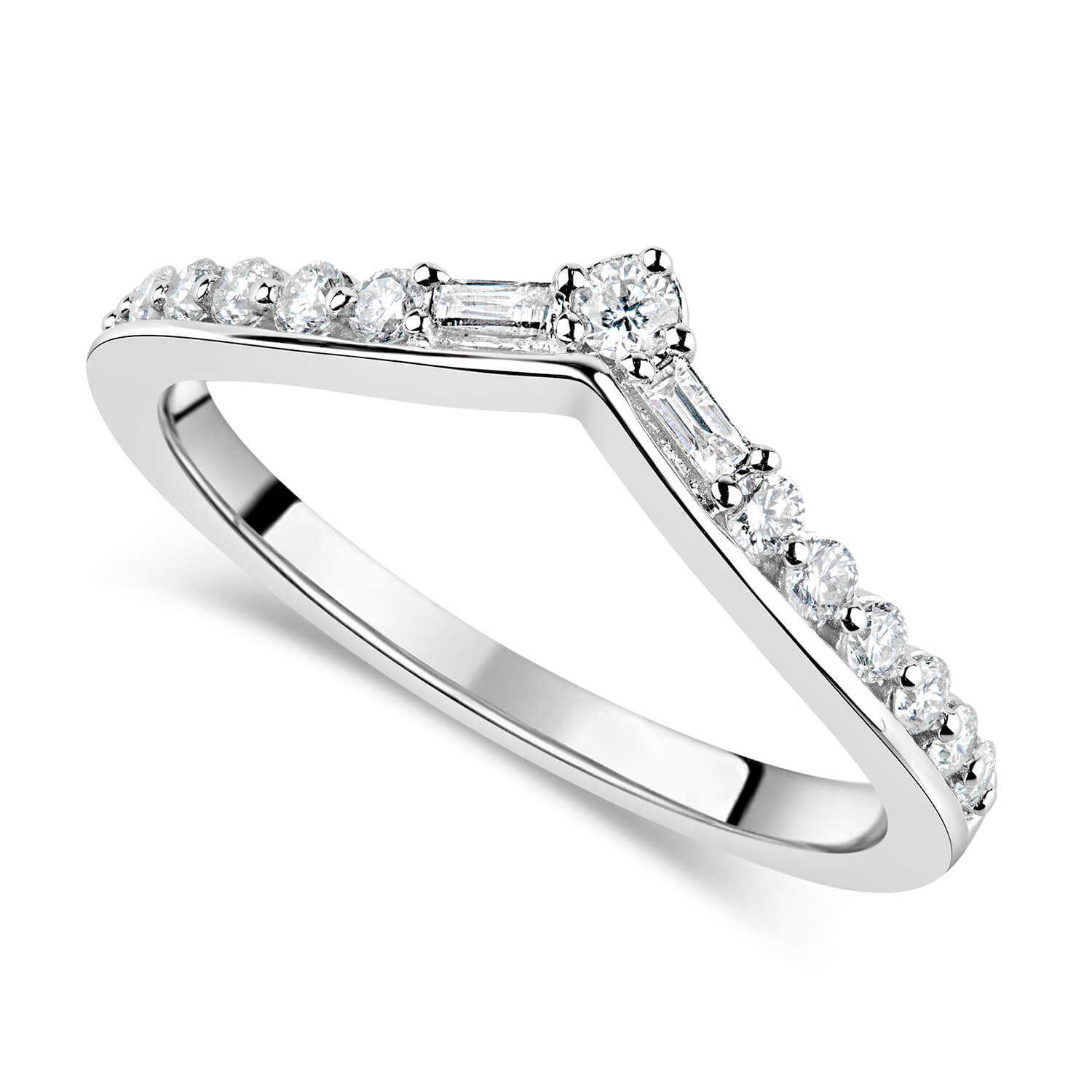Ladies' 9ct White Gold 0.30ct Diamond V-Shaped Wedding Band