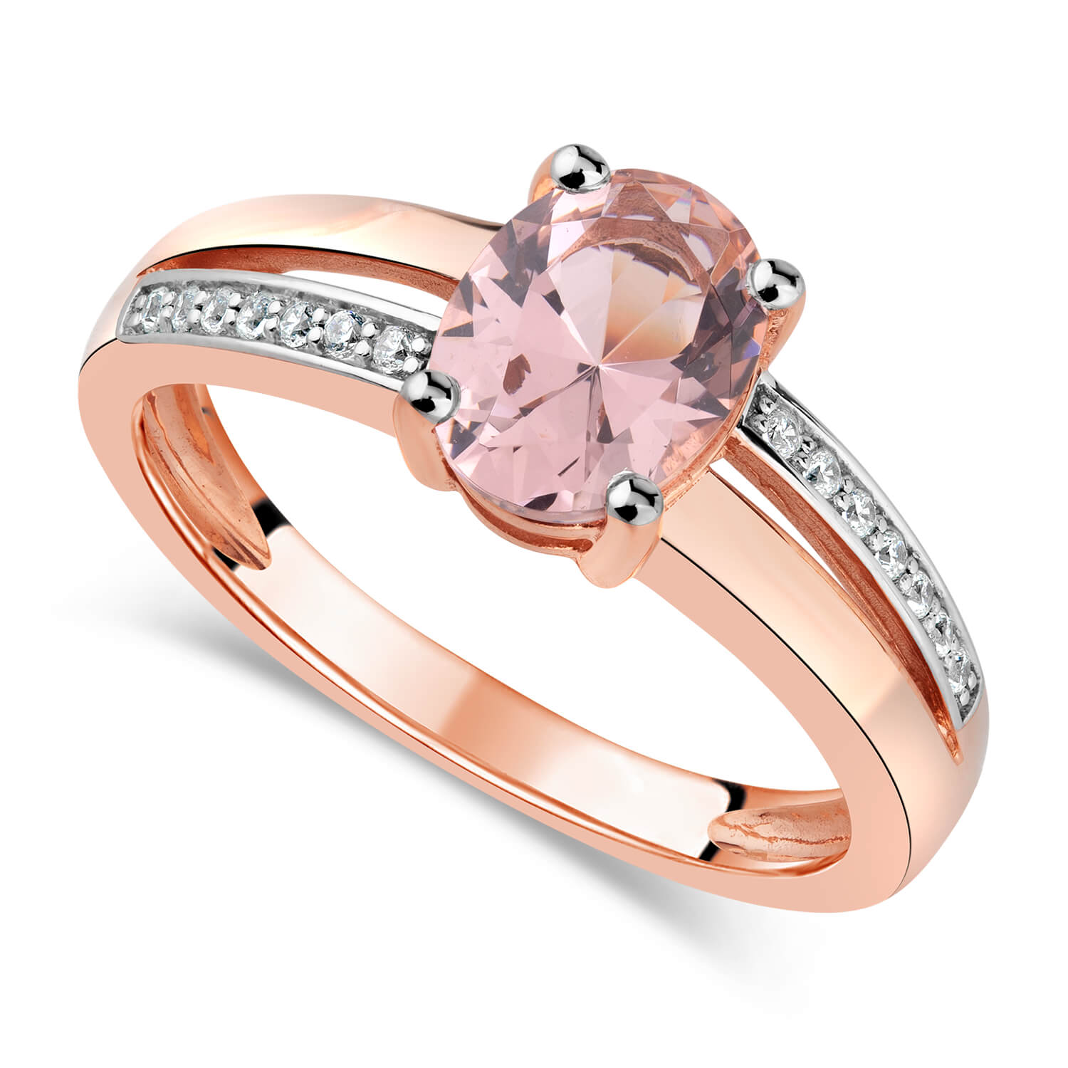 9ct Rose Gold Oval Morganite & Cubic Zirconia Shoulders Ring