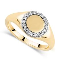 9ct Yellow Gold Cubic Zirconia Set Round Signet Ring