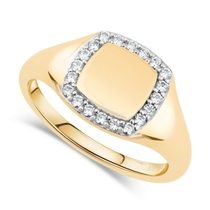 9ct Yellow Gold Cubic Zirconia Set Square Signet Ring