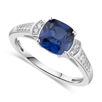 Ladies' 9ct White Gold Sapphire & Cubic Zirconia Dress Ring