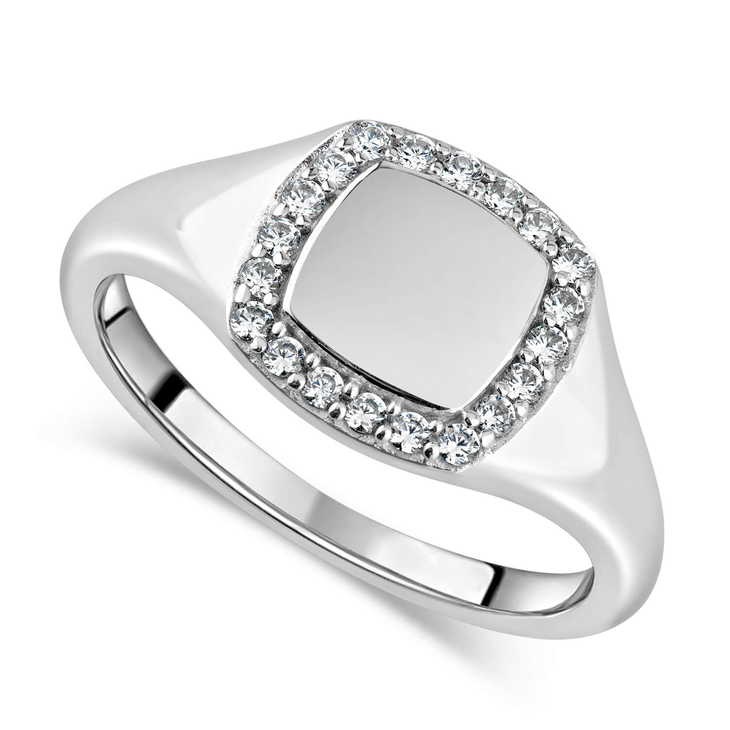 Ladies' Sterling Silver Cubic Zirconia Set Square Signet Ring