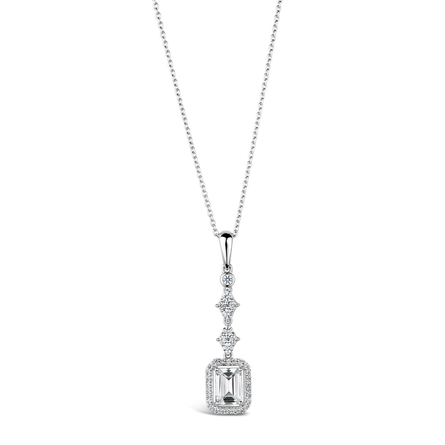 Sterling Silver Cubic Zirconia Rectangular Halo & Cluster Top Pendant